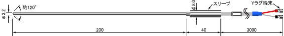 Kタイプ熱電対 T-101S-3.2-200-3000-EXA-Y-K-G-N